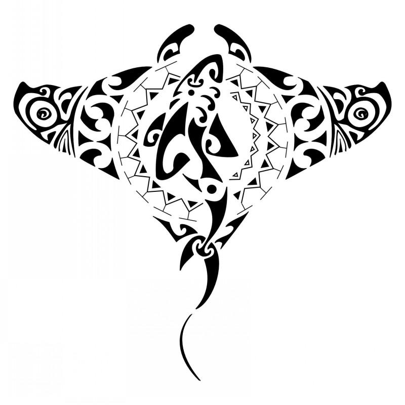 Amazing Polynesian Stingray Water Animal With Shark Print Tattoo