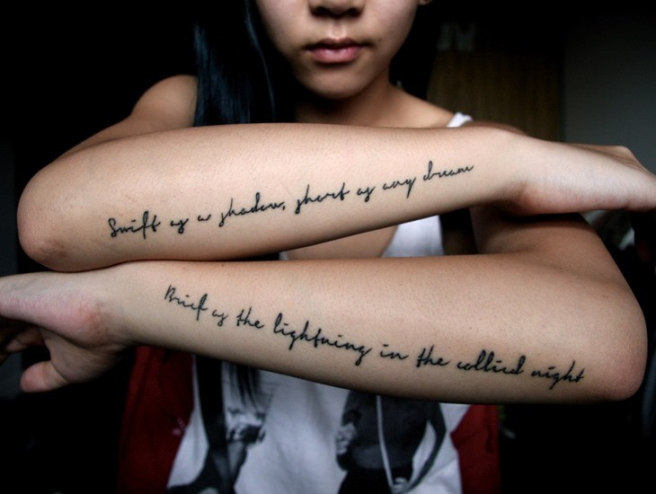 Amazing quote tattoos on both arms