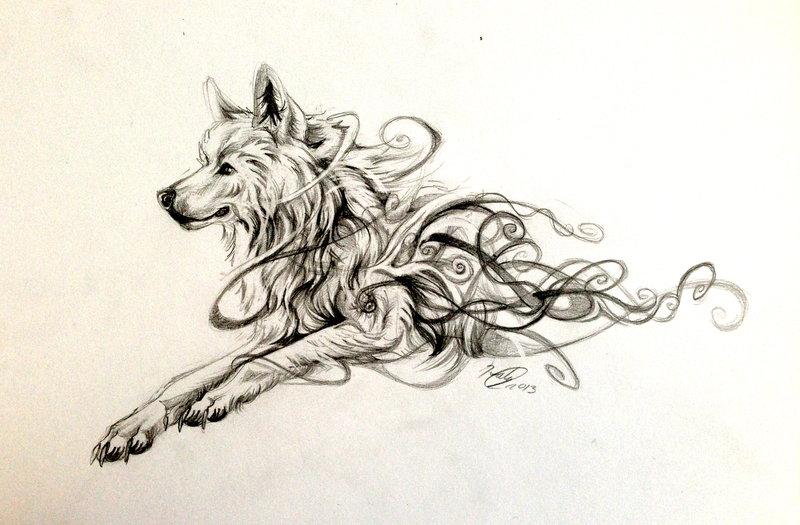 Amazing running swirly wolf tattoo design by Lucky978