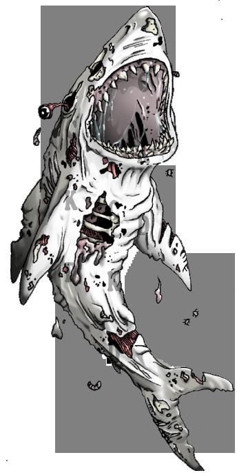 Amazing shark zombie tattoo design