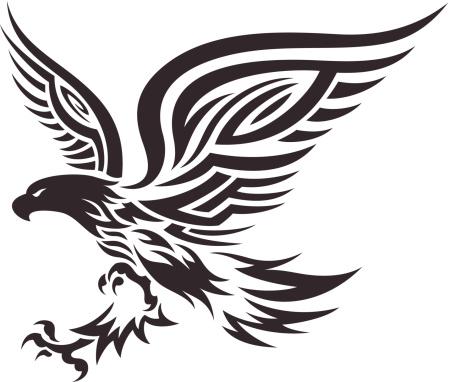 Amazing tribal flying eagle tattoo design