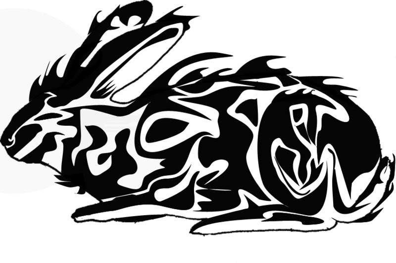 Amazing tribal sitting hare tattoo design by Bam999