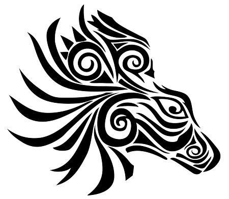 Amazing tribal zebra head with a lot of curls tattoo design