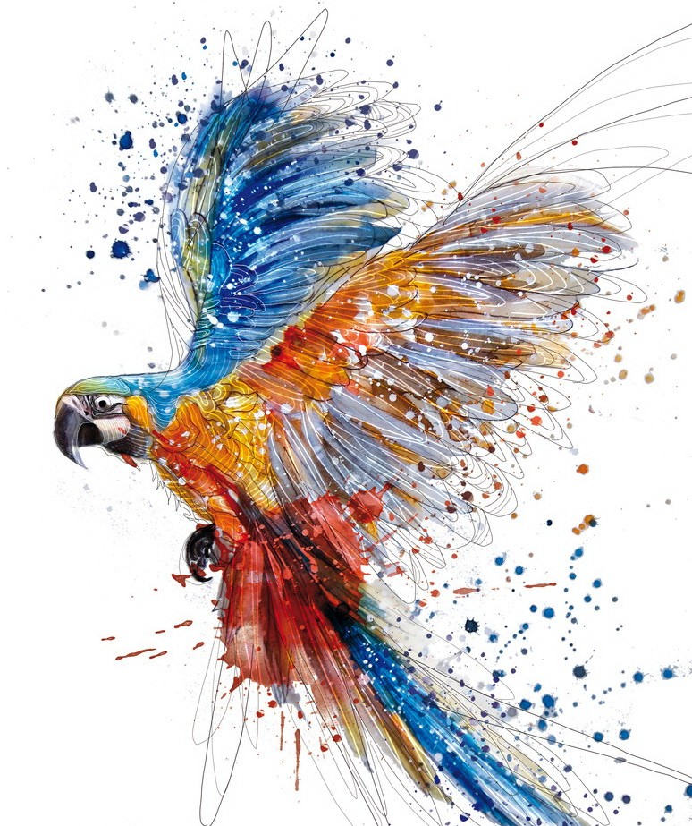 Amazing watercolor parrot in abundant splashes tattoo design by Rahaf