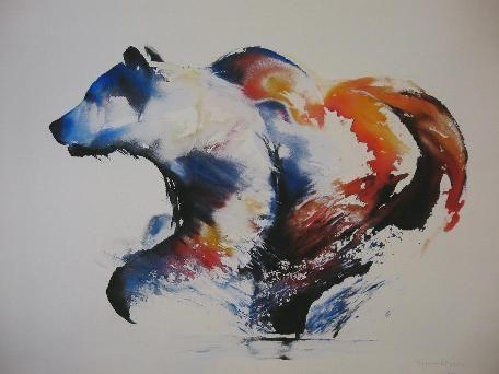 Amazing waterolor bear in profile tattoo design
