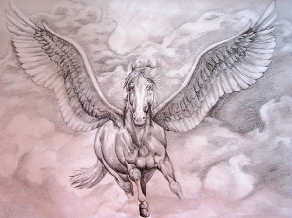 Amazing white pegasus flying in the sky tattoo design