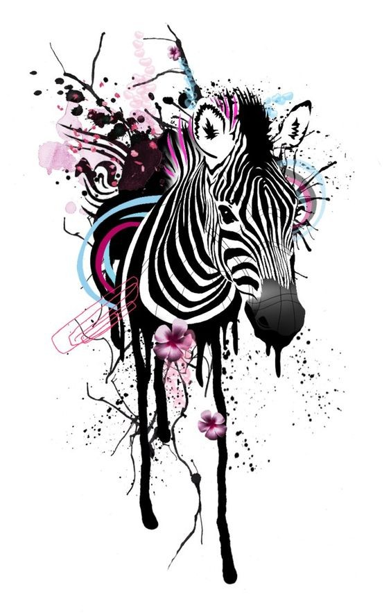 Amazing zebra with floral and stripe elements on black splashed background tattoo design