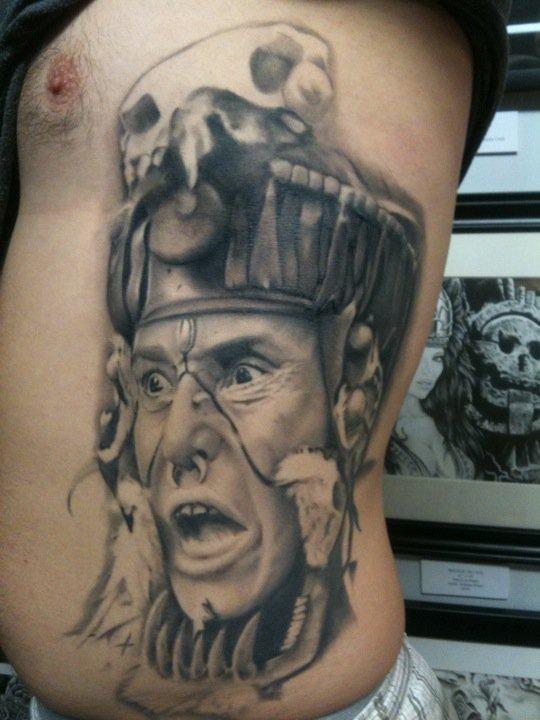 Realistic American Indian shaman tattoo - Tattooimages.biz