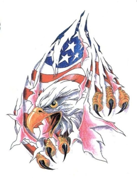 American flag and eagle looking through teared background tattoo design