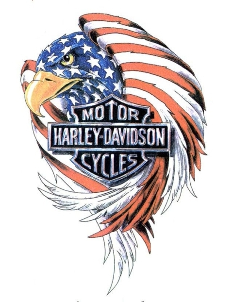 American flag patterned eagle with harley davidson logo tattoo design