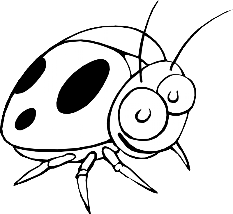 Amuse cartoon black-and-white smiling ladybug tattoo design