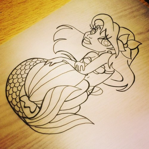 Amuse cartoon outline mermaid tattoo design