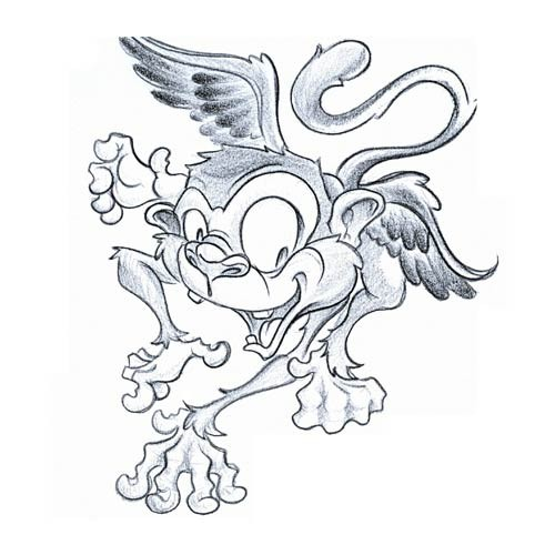 Amuse cartoon winged chimpanzee tattoo design