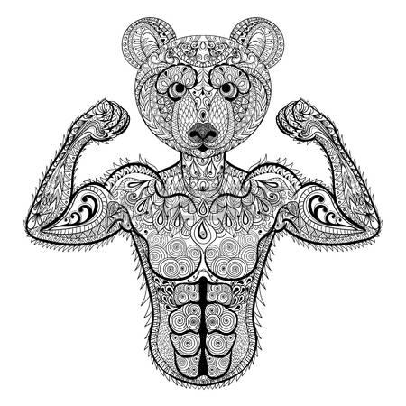 Amuse muscular patterned bear tattoo design