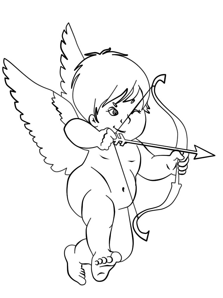 Amusing animated cherub angel with a bow tattoo design
