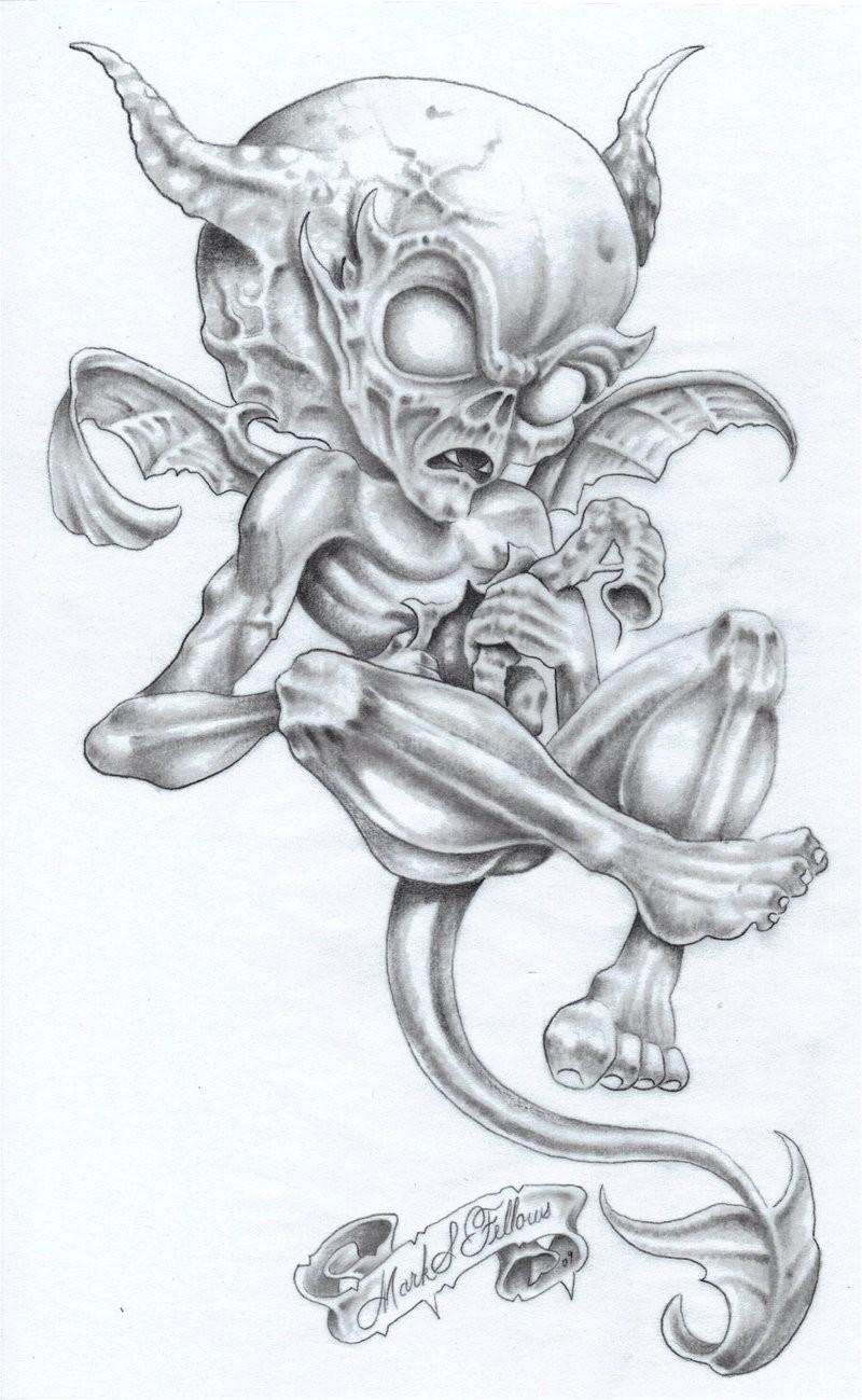 Amusing animated grey-ink flying demon tattoo design