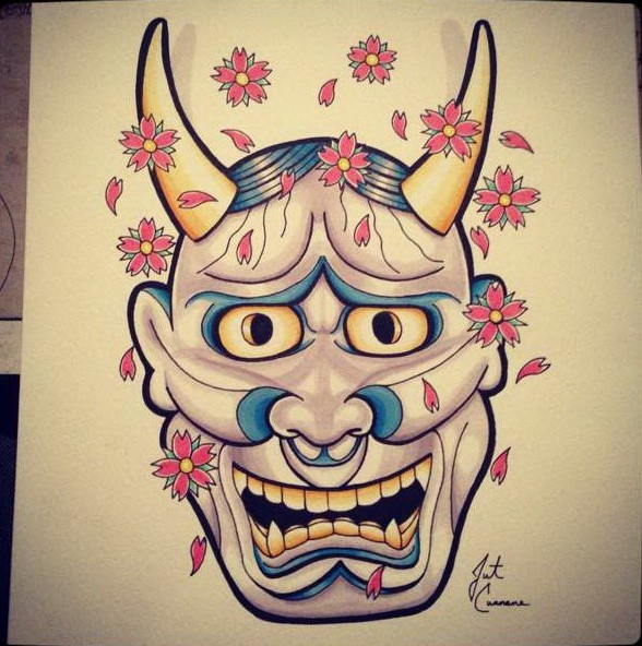 Amusing animated purple-and-blue devil face with falling cherry blossom tattoo design