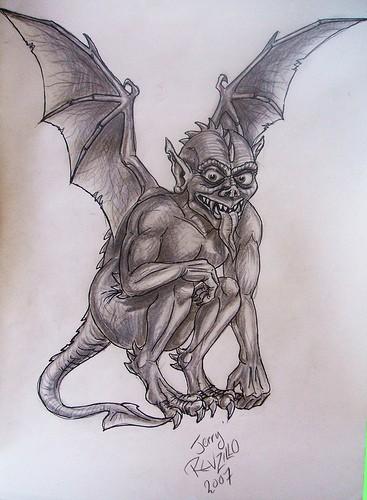 Amusing black cartoon gargoyle showing his tongue tattoo design