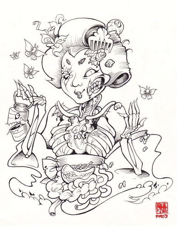 Amusing black outline japanese zombie geisha tattoo design