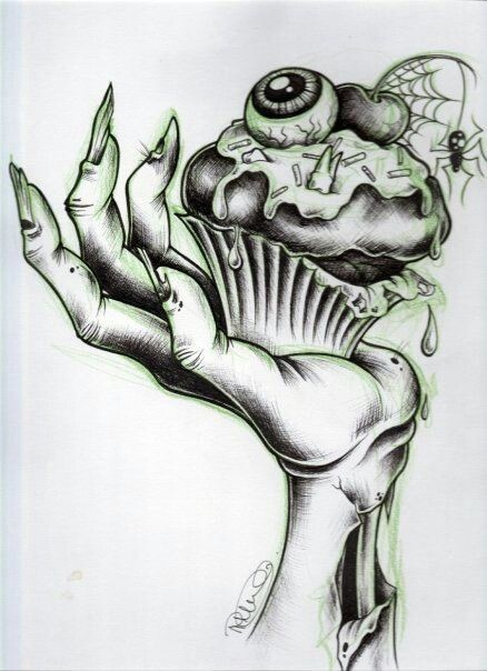 Amusing cake lying in a zombie hand tattoo design