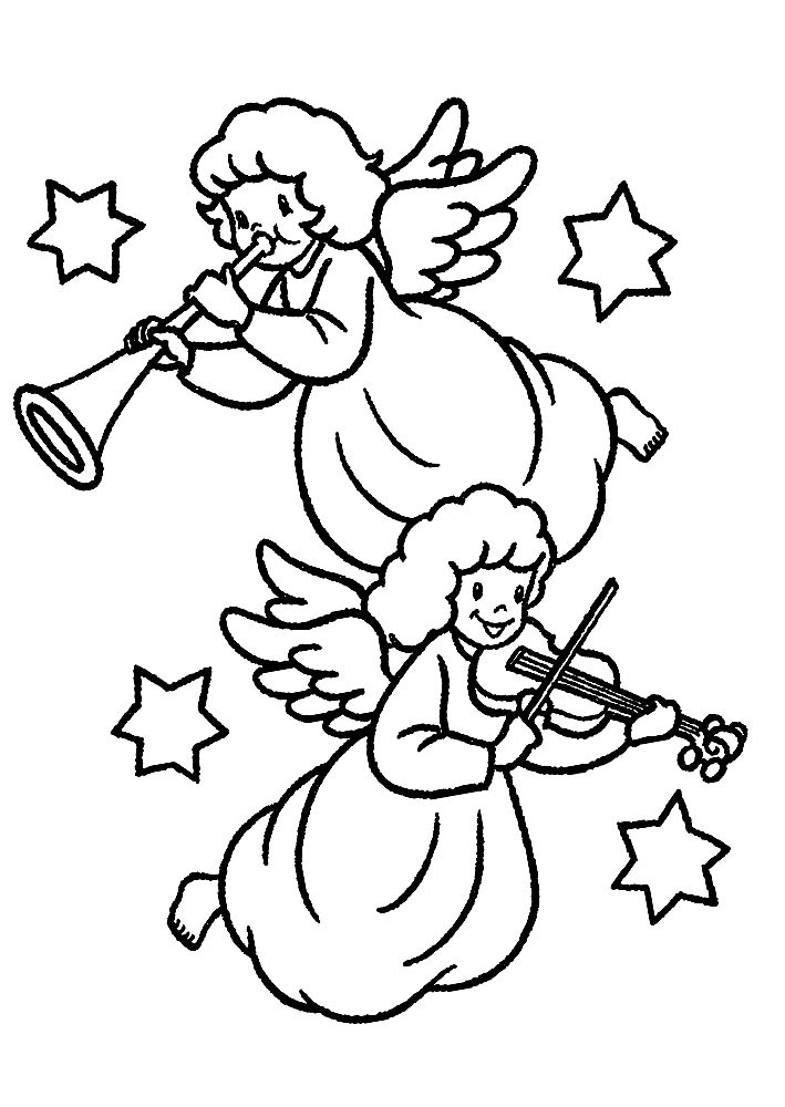 Amusing cartoon angel playing musical instruments among the stars tattoo design