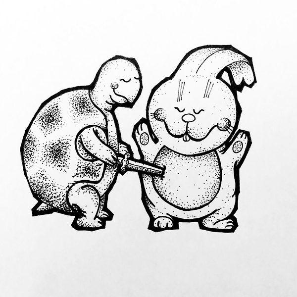 Amusing cartoon dotwork animal battle tattoo design