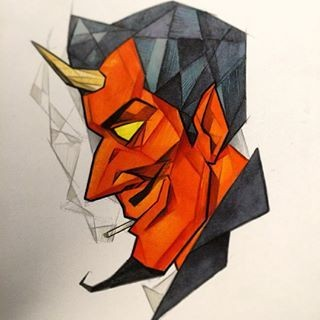 Amusing cartoon geometric-style devil tattoo design