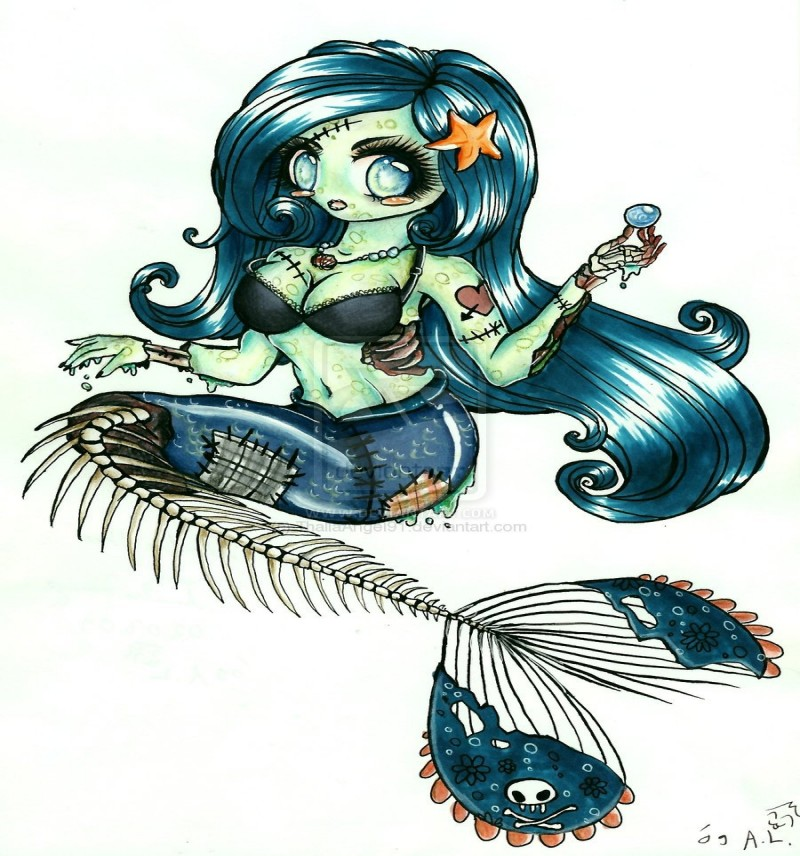 Amusing cartoon mermaid with bone tail tattoo design