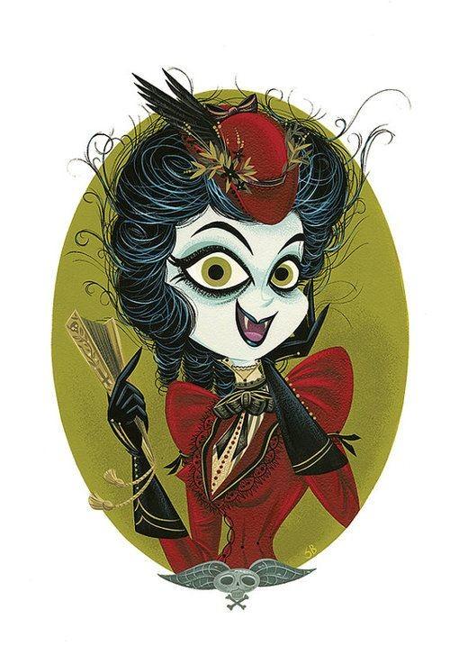 Amusing cartoon vampire lady portrait in dark red dress tattoo design
