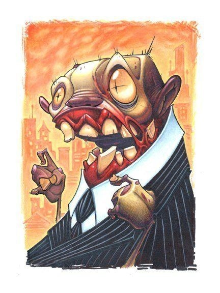 Amusing cartoon zombie businessman in suit tattoo design