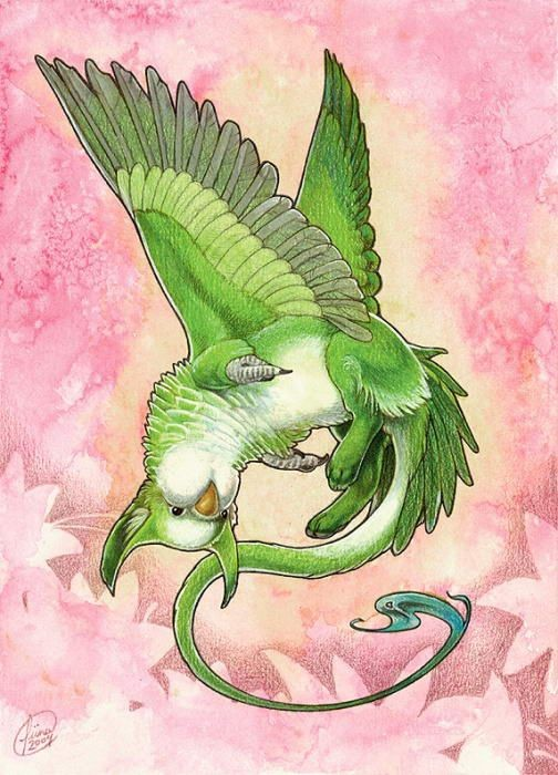 Amusing cheerfull green playing griffin baby tattoo design