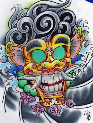 Amusing colorful demon mask in chinese style tattoo design