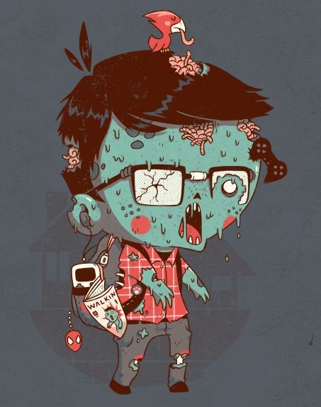Amusing colorful melting zombie boy with a tiny bird tattoo design