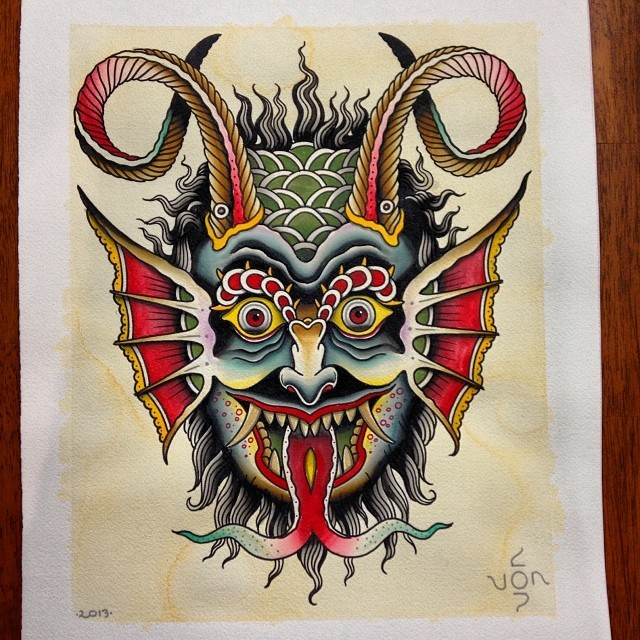 Amusing colorful old school style devil with hanging tongue tattoo design