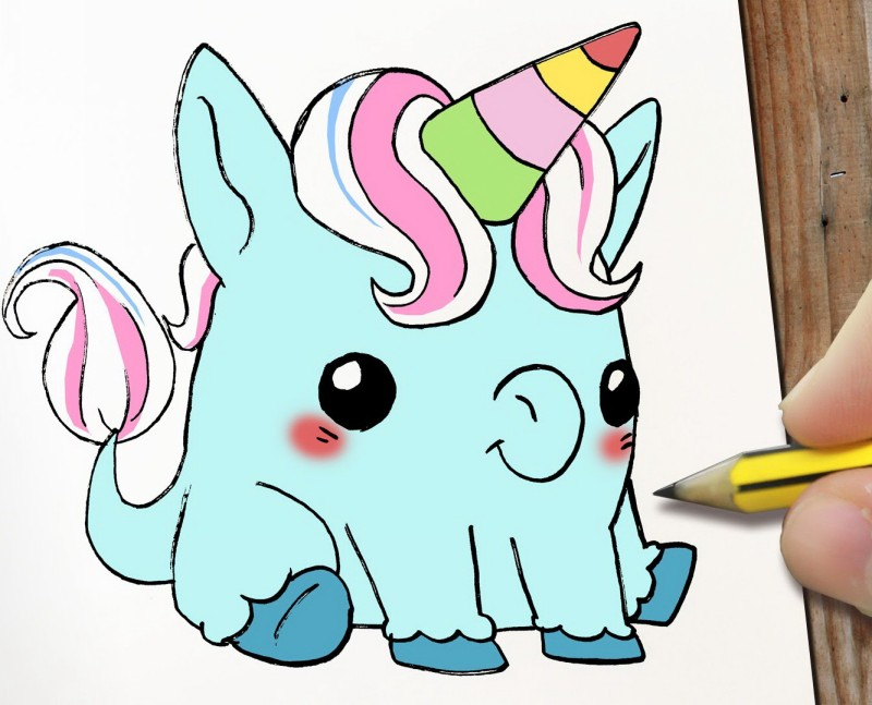 Amusing colorful unicorn with rainbow horn tattoo design
