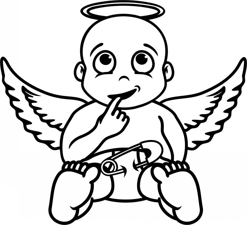 Amusing colorless angel infant in pants tattoo design