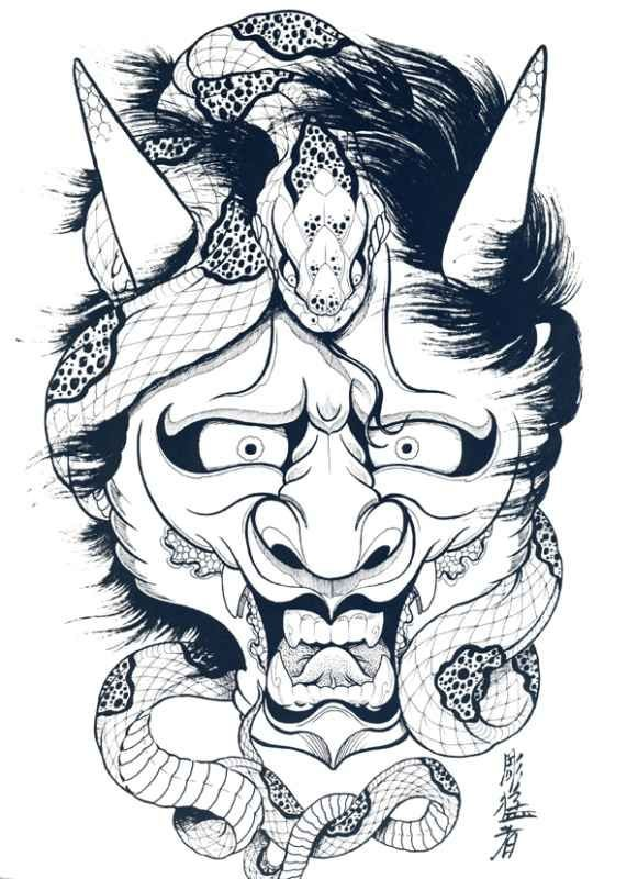 Amusing colorless demon face and entwining snake tattoo design