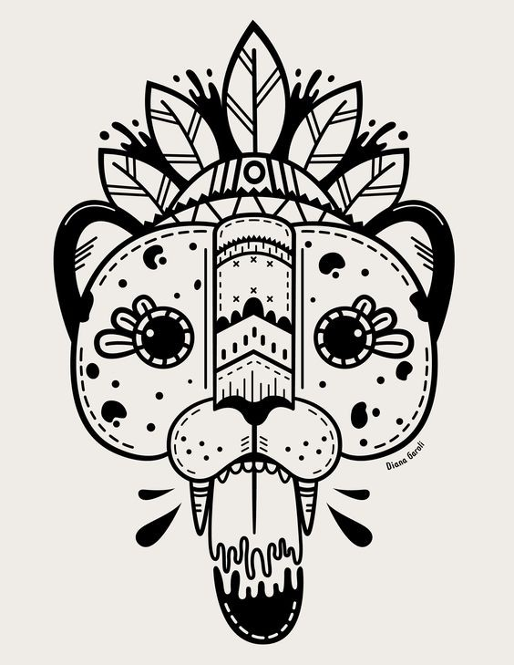 Amusing colorless indian jaguar head with feathers tattoo design