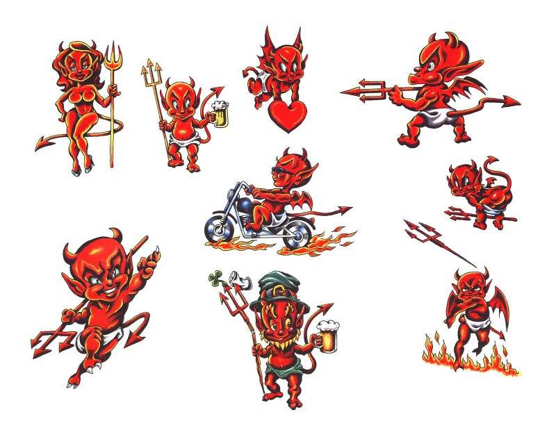 Amusing little red baby devil in different situations tattoo design