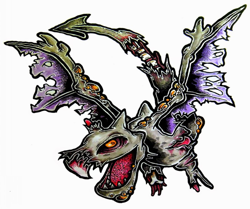 Amusing multicolor flying zombie dragon tattoo design