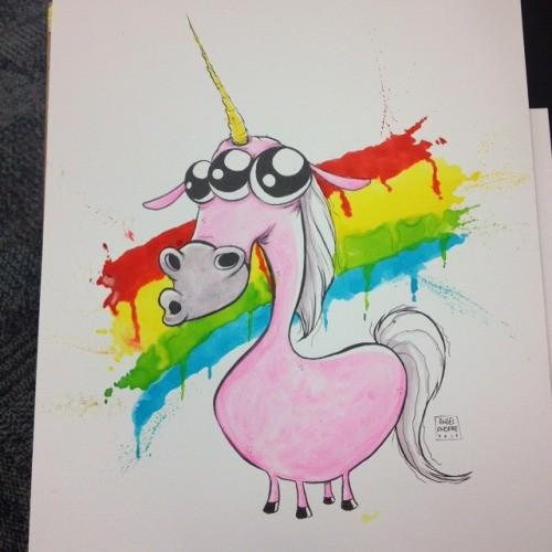Amusing pink three-eyed unicorn standing on melting rainbow background tattoo design