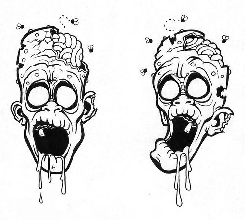Amusing uncolored zombie heads with flyes tattoo design