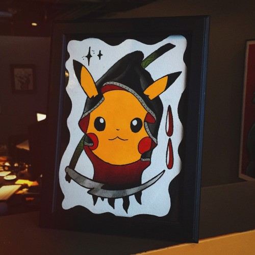 Amusing yellow death pikachu pokemon with a scythe tattoo design