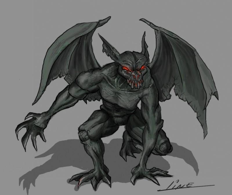 Ancient evil blac red-eyed gargoyle tattoo design