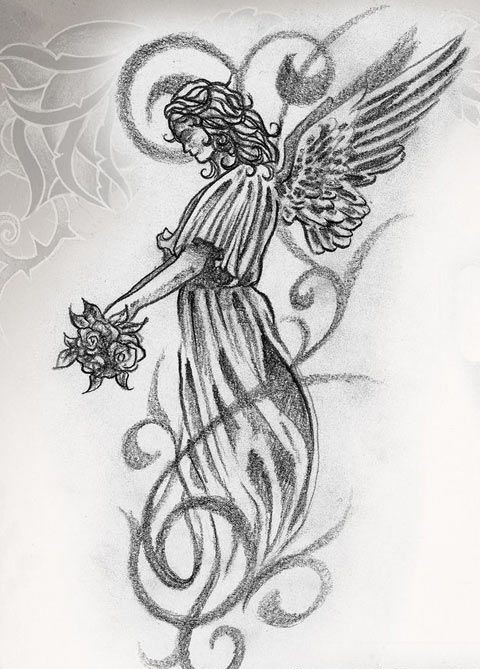 Angel bride with a bouquet standing in curles tattoo design