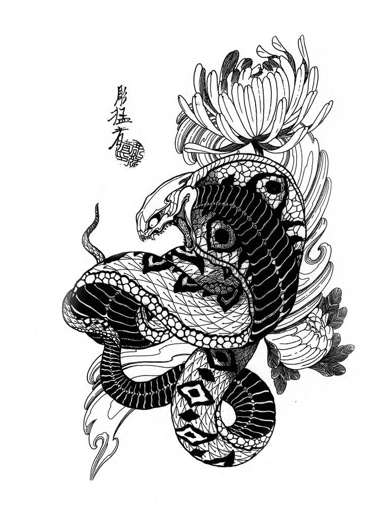 angry black and white cobra snake and flowers tattoo design. Black Bedroom Furniture Sets. Home Design Ideas