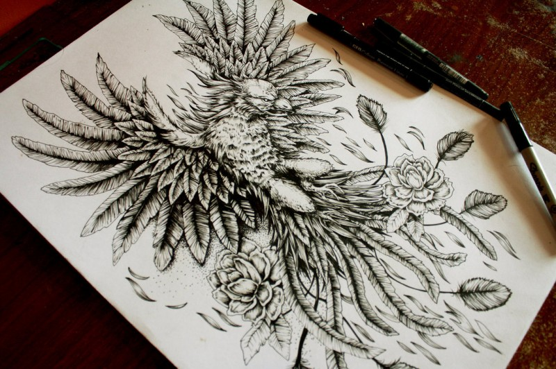 Angry black-and-white phoenix and flower buds tattoo design by Eg The Freak