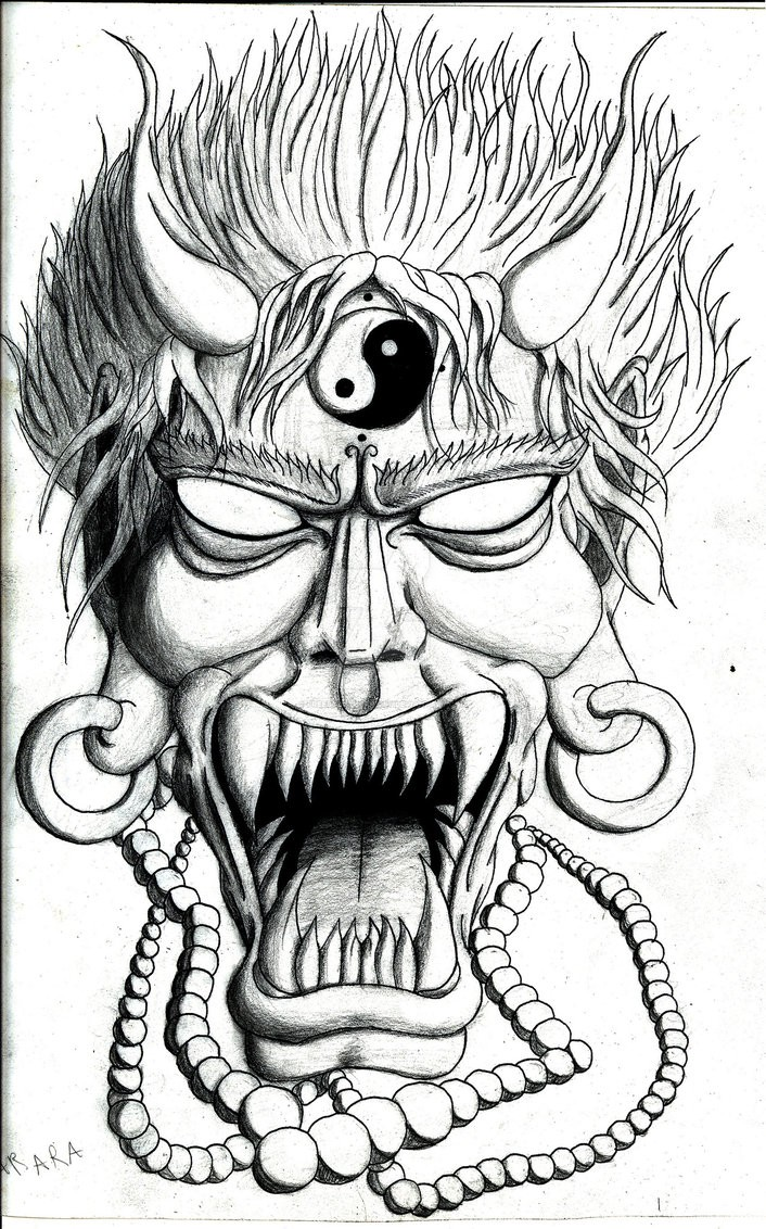Angry black-ink demon with yin yang symbol and bead necklace tattoo design by Free Soul The Artist
