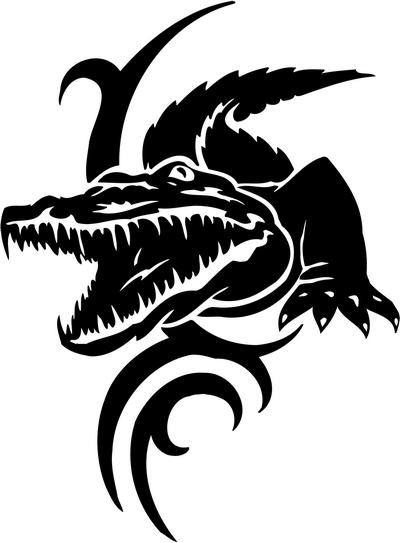 Angry black-ink reptile on tribal curl background tattoo design