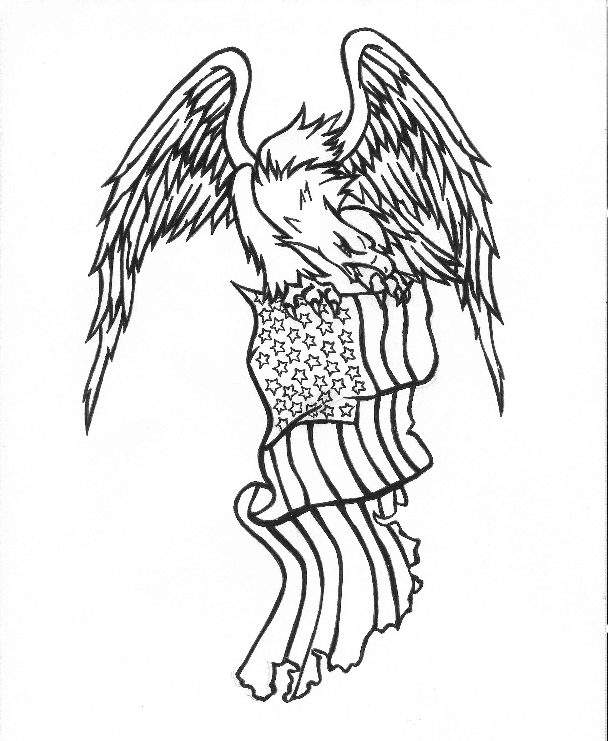 Angry black-line eagle keeping uncolored american flag tattoo design